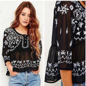 Free People Black & White Embroidered Peplum Top